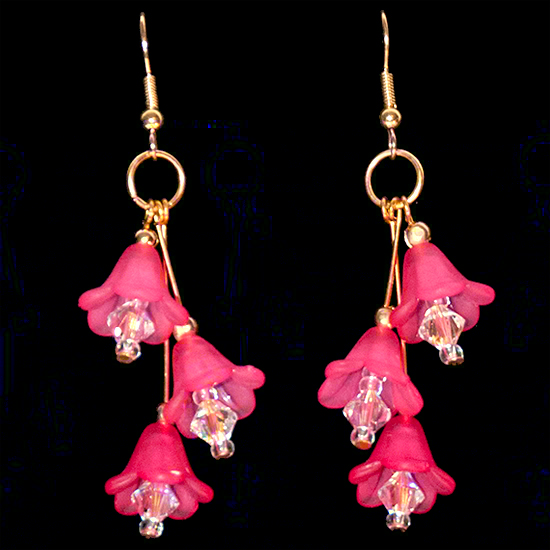 Fairy Bells Earrings – Deep Pink